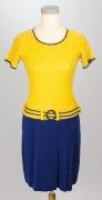 60er Jahre Kleid gelb/blau