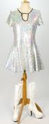 60er Jahre Kleid silber