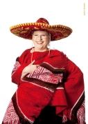 Mexikanerin mit Poncho und Sombrero