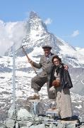 Belle Epoque Bergsteiger auf dem Weg zum Matternhorn