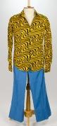 70er Jahre Hemd mit Schlaghosen gelb/blau