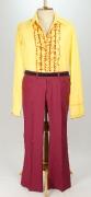 70er Jahre Hemd mit Schlaghosen rot/gelb